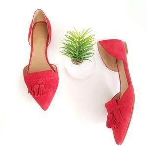 J. CREW D'orsay Tassel Ballet Flats Red Suede Shoe